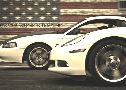 Ford Mustang GT and Chevrolet Corvette